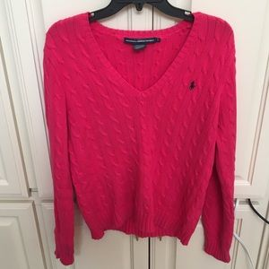 Ralph Lauren Sport Cotton Cable VNeck Sweater Pink